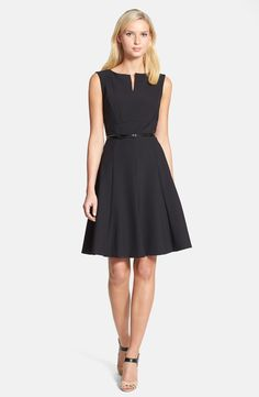 Free shipping and returns on Classiques Entier® 'Jolie' Stretch Fit & Flare Dress at Nordstrom.com. Feminine swing and tailored polish come together in a sleeveless dress topped with a split bateau neckline and wrapped with a skinny belt.