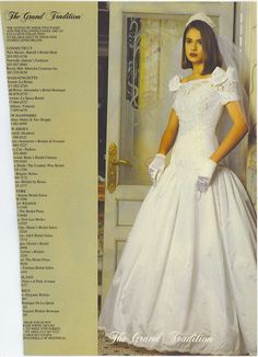Bride in a 90's vintage wedding gown from a magazine.