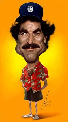 Magnum PI caricature. Tom Selleck in his iconic 80's tv series