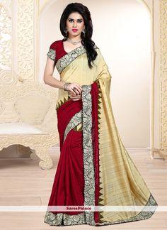 Remarkable Maroon Resham Work Designer Saree
