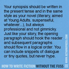 How to write a synopsis - http://rethinkpress.com/books/how-to-write-fiction-without-the-fuss/
