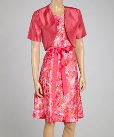 Look at this #zulilyfind! Coral Floral Cap-Sleeve Dress & Shrug by R&M Richards #zulilyfinds