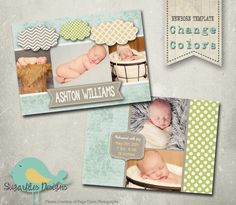 Baby Announcement Templates  Baby Boy Clouds by SugarfliesDesigns, $8.00