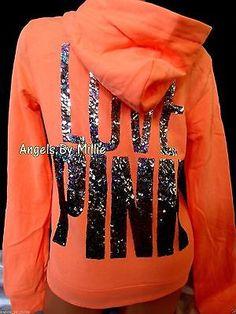 Victoria's Secret PINK Medium M Hoodie Neon Orange Bling Funnel Neck Perfect Zip