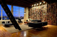 One wall of windows + one wall of books? Yes, please!