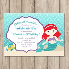 ARIEL MERMAID BIRTHDAY Invitation - Little Mermaid - Girl Birthday Invitation - Printable Invitation - Size 5x7 by kimberlyjdesign on Etsy https://www.etsy.com/listing/236996045/ariel-mermaid-birthday-invitation-little