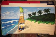 Corona on the beach Fraternity Cooler, see more at… Diy Cooler, Coolest Cooler, Fraternity Formal, Fraternity Coolers, Frat Coolers, Fraternity Gifts, Sorority Canvas, Sorority Paddles, Crowns