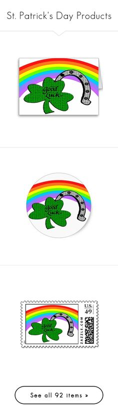 """""""St. Patrick's Day Products"""" by sandyspider ❤ liked on Polyvore featuring home, home decor, horseshoe home decor, tops, t-shirts, rainbow, shamrock, st paddy, white tee and white shirt"""