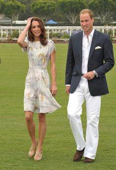 Kate Middleton slipped into a silver Jenny Packham dress for her trip to Santa Barbara with Prince William this afternoon. William and Kate arrived at the Polo Princesse Kate Middleton, Kate Middleton Prince William, Prince William And Catherine, William Kate, Duchess Kate, Duke And Duchess, Duchess Of Cambridge, Kate Middleton Photos, Kate Middleton Style