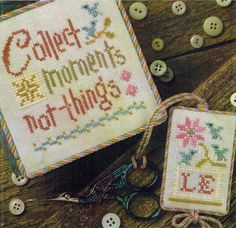 Lizzie Kate Collect Moments - Flora McSample Snippet - Cross Stitch. This cross stitch pattern from Lizzie Kate features the sentiment Collect Moments, not thin