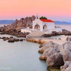 The picturesque chapel of Agios Isidoros, that stands at Sykiada of Chios Island, Greece Wonderful Places, Great Places, Places To See, Beautiful Places, Mykonos, Santorini, Places To Travel, Travel Destinations, Chios Greece