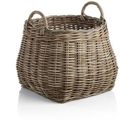 Crate & Barrel Birney Round Grey Rattan Basket (225 SAR) ❤ liked on Polyvore featuring home, home decor, small item storage, woven baskets, gray home decor, round woven basket, grey home decor and crate and barrel