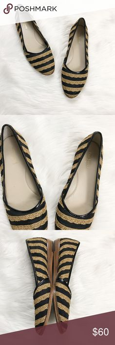Eric Javits New York striped shoes These super cute shoes are perfect for a walk on the beach or a brunch with your favorite girlfriends! Black canvas with tan burlap type material stripes, patent leather trim, in excellent used condition, size 12. Very small heel. Eric Javits Shoes Flats & Loafers