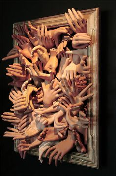 Hands On, art piece with original mannequin hands | From a unique collection of antique and modern decorative art at http://www.1stdibs.com/furniture/wall-decorations/decorative-art/