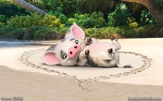 Happy #Valentine's Day with this special #love #wallpaper with #Pua from #Moana! We LOVE YOU :} Share if you love #Pua too!