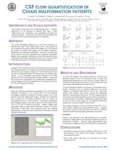 CSF Flow Quantification in CM Patients-This project will provide new understanding about whether differences in CSF dynamics in patients with Type I Chiari malformation are observable and quantifiable through flow waveform analysis. Results from this work may help quantify the severity of CMI in terms of alterations to CSF dynamics.