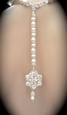 Bridal jewelry  Pearl backdrop necklace  by QueenMeJewelryLLC