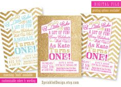 First Birthday Party Invitation  Gold by SprinkledDesign, gold and white chevron with red and gold writing
