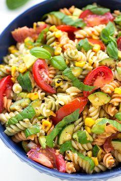Corn, zucchini & avocado pasta salad