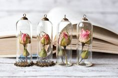 Pink Rose Bottle Necklace - Real Flower Bottle Pendant, Botanical Necklace, Real Rose Vial Jewelry