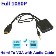 1080P HDMI to VGA Converter with 3.5MM Audio Cable