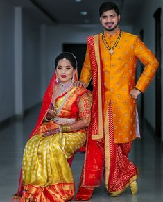 Have confusion in selecting wedding outfit ? Indian Wedding Couple Photography, Indian Wedding Photos, Photography Couples, Indian Groom Wear, South Indian Bride, Indian Bridal, Telugu Wedding, Saree Wedding, Bridal Sarees