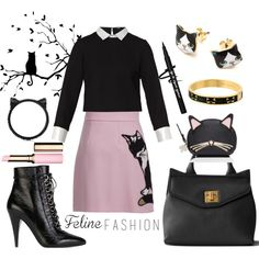 fashionable feline by kc-spangler on Polyvore featuring Maje, MSGM, Yves Saint Laurent, Kate Spade, Clarins, WALL, cats, kitty, BlackAndPink and pinkandblack