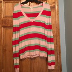 American Eagle Outfitters v-neck sweater size XL Beautiful American Eagle Outfitters red, pink, and green striped sweater. Angora blend. Size XL worn once. In like new condition! American Eagle Outfitters Sweaters V-Necks