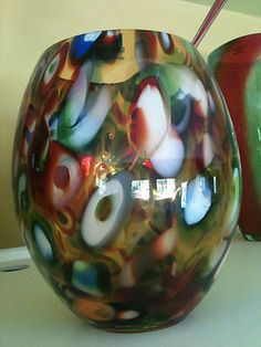 SASAKI Crystal Hand Crafted Multicolor Vase - with tags