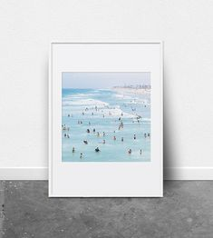 PRINTABLE WALL ART - Summertime 02  Modern surf beach photograph in light blues and spotted swimmers everywhere.   INSTANT DOWNLOAD This listing is for a digital file. The art files have been setup to download and print easily and instantly from your own home in various sizes!