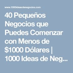 40 Pequeños Negocios que Puedes Comenzar con Menos de $1000 Dólares | 1000 Ideas de Negocios