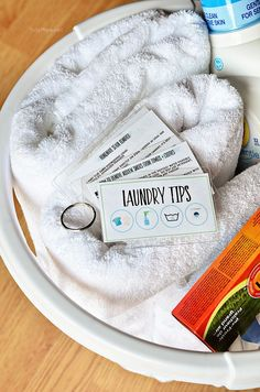 Laundry Tips and Cheat Sheets using Scotch Self-Seal Laminating pouches. Free Printable Laundry Tips at TidyMom.net
