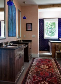 Reclaimed Wood Love: Hillsboro/West End Residence - mediterranean - Bathroom - Nashville - Marcelle Guilbeau, Interior Designer.  www.marcelleguilbeau.com #customtub #smallsoaker #soakertub #rustic #moroccan #ogee #turquoise #persianrug