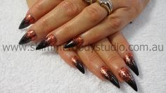 Gel Nails, Glitter Nails, Pointed Nails, Copper and Black Nails.