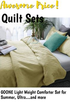 GOONE Light Weight Comforter Set for Summer, Ultra Quilt Set Soft Hypoallergenic Coverlet, Microfiber Bedspread 3 Piece Washed Comforter Cover Sets, King Size, Yellow,(Includes 1 Quilt, 2 Shams) ... (This is an affiliate link) #quiltsets
