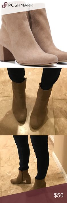 Naturalizer Westing Suede Ankle Boot sz 7.5M Like new-worn one time!  Color is a beautiful oatmeal Suede.  Luxe leather upper in a basic ankle boot style Side zipper for ease of entry Non-slip outsole for stability, 2 1/2 inch heel. Still full price - new style! Naturalizer Shoes Ankle Boots & Booties