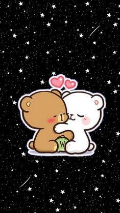 Cute Bunny Cartoon, Cute Cartoon Images, Cute Couple Cartoon, Cute Kawaii Animals, Cute Love Cartoons, Cartoon Pics, Cute Cartoon Wallpapers, Bear Wallpaper, Kawaii Wallpaper