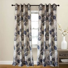 Navy Leaf Curtains Printing Linen Khaki Drapes Set of 2 Panels