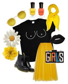 """""""Mellow yellow"""" by ashlee-claire-sanderson on Polyvore featuring Rochas, Gucci, Dr. Martens, Ray-Ban, Deborah Lippmann, Lime Crime and Hermès"""