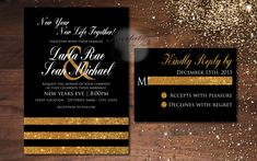 New Years Black and Gold Glitter Black White New Years Eve Wedding Elegant Formal Wedding Invitation