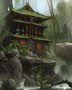 ideas landscape concept art temples for 2019 Concept Art Landscape, Fantasy Concept Art, Fantasy Art Landscapes, Fantasy Landscape, Fantasy Artwork, Landscape Art, Japanese Temple, Japanese Art, Environment Concept Art