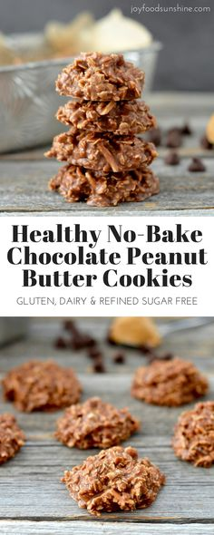 Healthy No-Bake Chocolate Peanut Butter Cookies! 8 good-for-you ingredients! Gluten-free, dairy-free, refined-sugar free AND vegan!