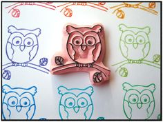 Rubber Stamp - Hand Carved - Owl. $8.99, via Etsy.