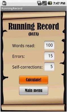 FREE RR Running Record app for ANDROID via Google Play.