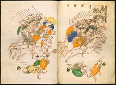 A double page cavalry pursuit. The Leiden I Maccabees manuscript / Codex Per F 17