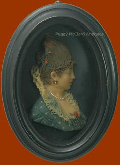 Antique Polychrome Wax Relief Portrait of Lady in 18th Century Garb