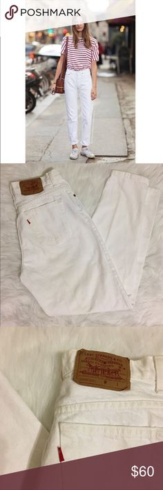 """Vintage white 550 Levi's mom jeans Vintage white denim high waisted Levi's mom jeans size 12.  waist: 15.5 thigh, 3"""" below crotch: 12.5 rise, crotch seam to waist: 11.5 inseam: 29 ankle: 6.5  Consider length for rolling up the ankles. 550 relaxed tapered leg fit T Tag says size 12 but vintage sizing runs small.  Go by measurements.  Great vintage condition!!!   ❗️PLEASE GO BY MEASUREMENTS. I am not responsible for jeans not fitting❗️  (copyright may apply to top photo - found in image…"""
