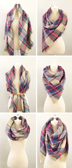 Ways To Wear A Scarf ... Love This Tartan Plaid Scarf ❤︎