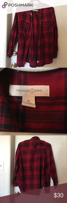 Treasure & Bond flannel WORN ONCE Treasure & Bond medium weight, red and black flannel. Size: Medium. This flannel is super comfy!! Treasure & Bond Tops Button Down Shirts