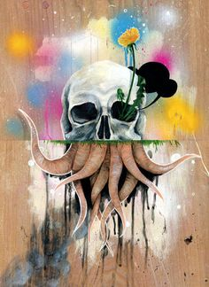 """Skull Roots"" Painting by Famous When Dead posters, art prints, canvas prints, greeting cards or gallery prints. Find more Painting art prints and posters in the ARTFLAKES shop. Art And Illustration, Illustrations, Painting Prints, Canvas Prints, Art Prints, Canvas Art, Paintings, Octopus, Pix Art"